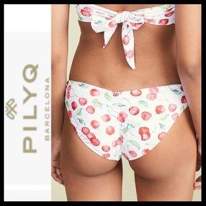 NWT PilyQ Cherry Ruched Bikini Bottoms
